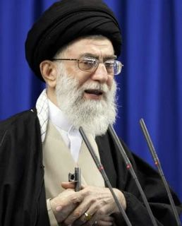 Here is the REAL leader of Iran. The Supreme Leader himself, Ayatollah Ali Khamenei. Like all great religious men, he is delivering this sermon whilst fondling the muzzle of a rifle. I sure hope Barry's message of hope and change gets through to him!