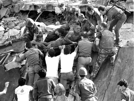US Marine Barracks bombing--Beirut, Lebanon--23 October 1983. 241 Americans killed by Hezbollah Islamikaze bombing