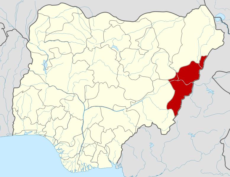 The location of Adamawa state in Eastern Nigeria.