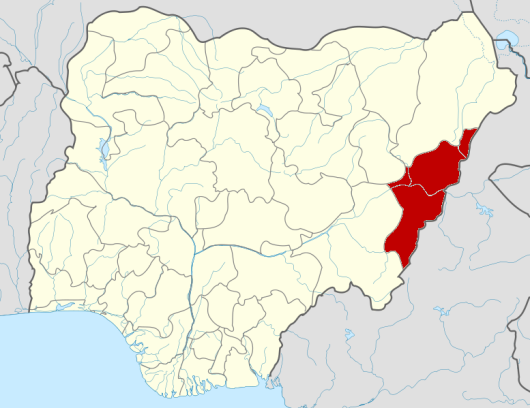 The location of Adamawa state in Eastern Nigeria.