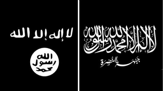 Different versions of Islamic flag.
