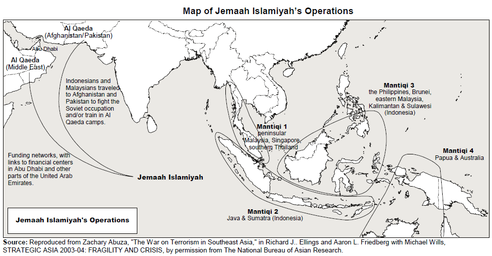 Image result for JEMAAH ISLAMIYAH map