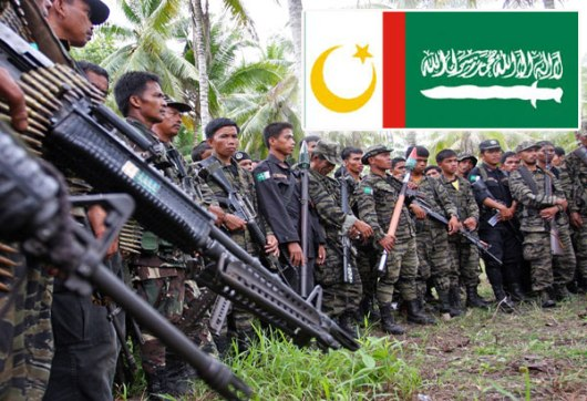 Members of the Moro Islamic Liberation Front and flag