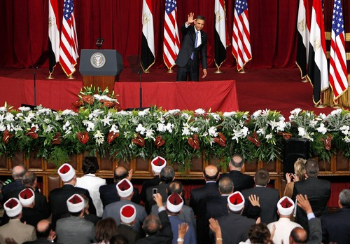 Obama's infamous speech in Cairo in 2009, with Muslim Brotherhood members in the front row