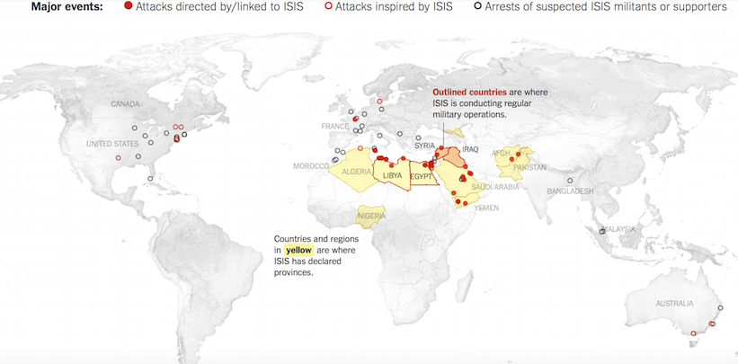 Map Of Islamic State Terrorist Attacks Terror Trends Bulletin - Maps where jhadist are lockated in us