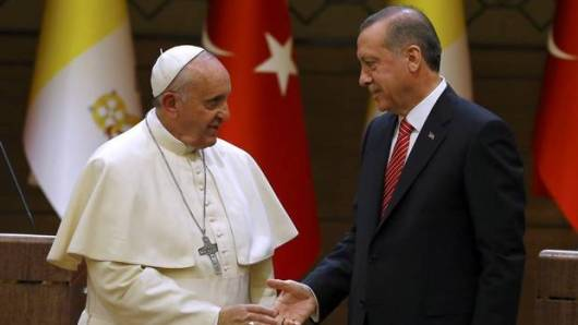 Pope Francis and Turkey's Islamist leader, Recep Tayyip Erdogan