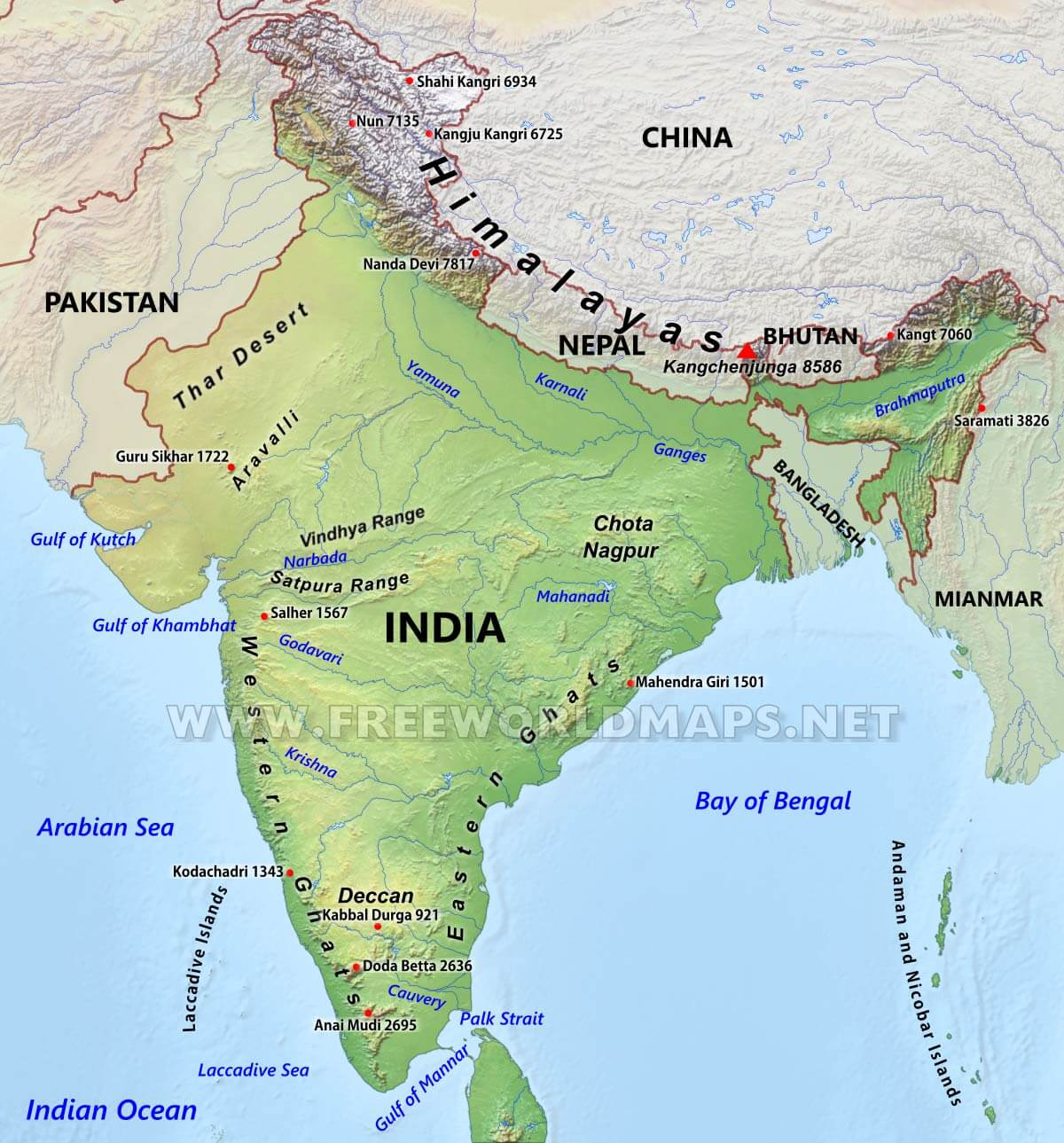 india-physical-map | Terror Trends Bulletin